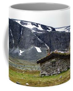 Old stone hut in norwegian nature. Stone Barns, Mugs For Sale, Old Stone, Travel Photographer, Basic Colors, Color Show, Countryside, Fine Art America, Colorful Backgrounds