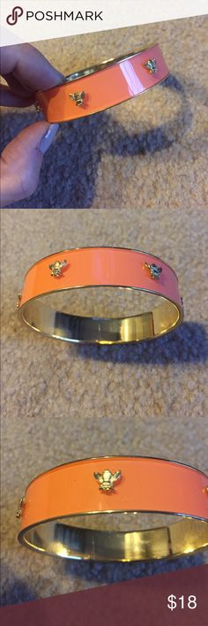 Coral and Gold Bumble Bee Bracelet Excellent Condition. Slip-on Bracelet Jewelry Bracelets