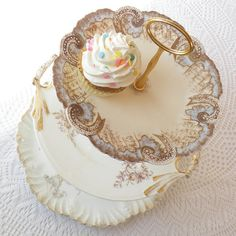 Marie Antoinette style in blue and gold tier stand