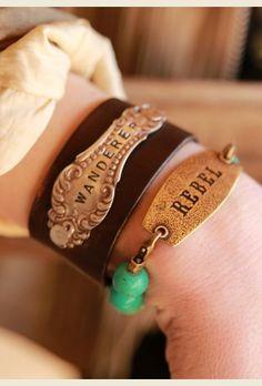 REBEL TAG BRACELET - Junk GYpSy co. Word pendant bracelet leather metal silverware flatware spoon hndle