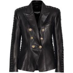 Balmain Embellished Leather Jacket (£2,220) ❤ liked on Polyvore featuring outerwear, jackets, balmain, black, 100 leather jacket, genuine leather jackets, balmain jacket, embellished jacket and real leather jackets