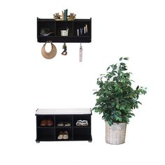 Proman Kendal Shoe Bench and 3-cell Hutch Set