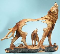 Wolf Carving | Howling Wolf Carved Sculpture