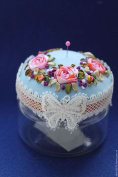 Beautiful pin cushion with ribbon embroidery Rose Embroidery, Silk Ribbon Embroidery, Embroidery Stitches, Embroidery Designs, Learn Embroidery, Ribbon Art, Red Ribbon, Embroidery For Beginners, Embroidery Techniques
