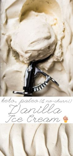 This no-churn paleo and keto vanilla ice cream is ridiculously creamy and fragrant. Plus, it won't freeze rock solid, like your usual homemade low carb ice cream! Paleo Ice Cream, Low Carb Ice Cream, Dairy Free Ice Cream, Vanilla Ice Cream, Ice Cream Recipes, Vanilla Protein Ice Cream Recipe, Coconut Cream, Almond Butter, Almond Milk
