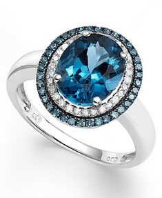 London Blue Topaz (2-3/4 ct. t.w.), Blue and White Diamond (1/3 ct. t.w.) Oval Ring in 14k White Gold