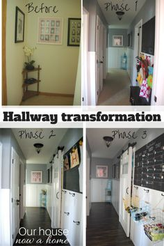 Hallway transformation with before and after, DIY projects to create function and style for a home. Home decor experts share their best home decorating advice! How to get started, what mistakes not to make, and what they wish they had known. Simple steps to decorating your home, take the guess work out and start having fun!
