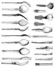 Drawings of spoons found at Novgorod Medieval Archaeological dig.