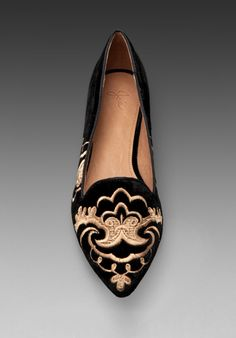 JOIE Sabina Flat in Black/Gold - Joie