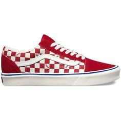 Vans Seeing Checkers Old Skool Lite ($70) ❤ liked on Polyvore featuring men's fashion, men's shoes, men's sneakers, red, mens leather sneakers, mens leather skate shoes, mens lightweight running shoes, vans mens shoes and mens skate shoes