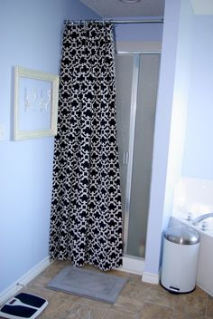 Ruffled Curtain Over Glass Shower Door Shower Doors Doors And Glass