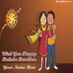 Indian celebration happy raksha bandhan wishes image with name greeting card download free, make your name on beautiful happy rakhi day pictures send online, personalized name wishes beautiful quotes photo sending whatsapp status, customized name writing happy raksha bandhan wallpapers editing tools.