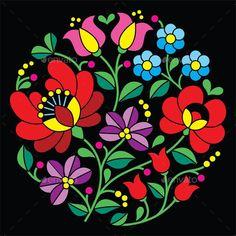 Kalocsai embroidery – Hungarian round floral folk pattern on black – Stock Illustration - Stickerei Ideen Hungarian Embroidery, Folk Embroidery, Learn Embroidery, Folk Art Flowers, Flower Art, Chain Stitch Embroidery, Embroidery Stitches, Machine Embroidery, Bordado Popular
