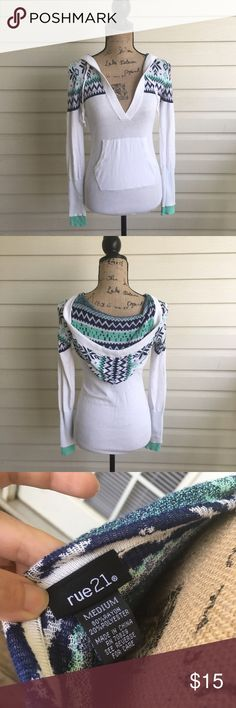 Rue 21 Hooded Sweater Beautiful hooded sweater from Rue21. In excellent condition. Size medium fits like a small. I'm a speedy shipper and we have a smoke free home! Measurements upon request. I'm always open to reasonable offers. Rue 21 Sweaters