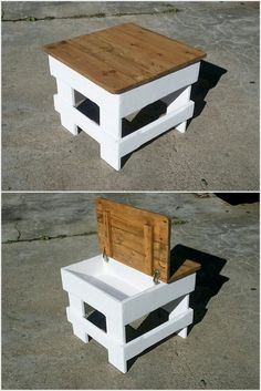 simple and easy projects to recycle old wood pallets, wood box pallet diy projec… - DIY Möbel Wood Pallet Tables, Wooden Pallet Projects, Wooden Pallet Furniture, Wood Pallets, Pallet Couch, Pallet Wood, Pallet Patio, One Pallet Ideas, Wood Table