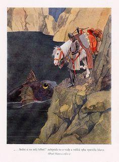 Artuš Scheiner, illustration for Fairy Tales by Božena Němcová Edmund Dulac, Children's Book Illustration, Illustrations Posters, Illustrators, Samurai, Fantasy Art, Book Art, Art Nouveau, Fairy Tales