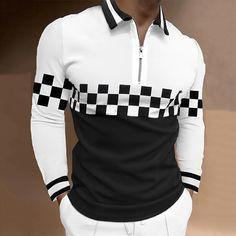 BrosWear Men's Plaid Print Contrast Color Long Sleeve Zipper Polo Shirt Style Hip Hop, Moda Retro, Plaid Fashion, Fashion Shirts, Retro Mode, Business Shirts, Work Tops, Golf Shirts, Business Fashion