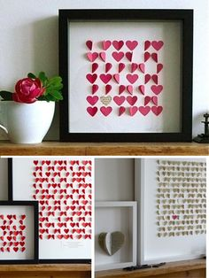 paper heart arrangement - I'd like to see this on a larger scale covering a wall or bigger surface!