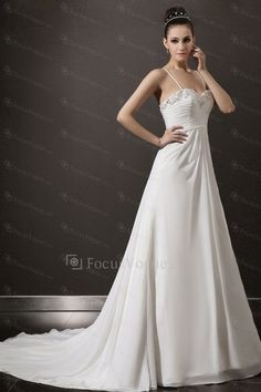 Chiffon Spaghetti Cathedral Train A-line Wedding Dress with Beading - Focus Vogue
