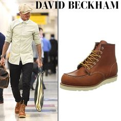David Beckham in brown leather boots