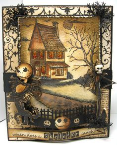 Halloween card...joke...front using some Tim Holtz..I also replaced the stamped skeleton head on the right with a skeleton button for the face...