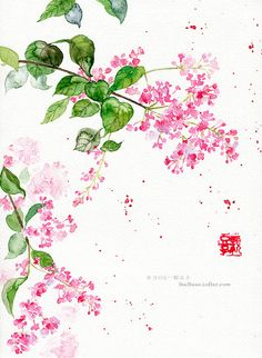 水彩插画——丁香 - 堆糖 发现生活_收集美好_分享图片 Chinese Artwork, Chinese Drawings, Chinese Painting, Art Drawings, Watercolor Flowers, Watercolor Paintings, Foto Transfer, Korean Art, China Art