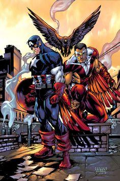 Captain America and the Falcon 10 Marvel Comic books modern era cover Marvel Dc Comics, Marvel Heroes, Marvel Avengers, Secret Avengers, Captain America Comic, Capitan America Marvel, Superhero Duos, Best Superhero, Comic Book Characters