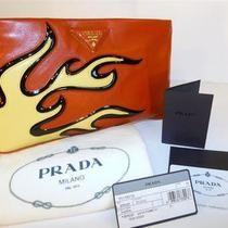 PRADA Handbag CLUTCH Purse ~ RED &  YELLOW FLAME CLUTCH ~ NAPPA LEATHER ~2012 BN Photo