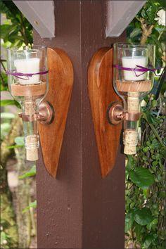 Wine Bottle Candle Wall Sconce Set by WoodsmithOfNaples on Etsy