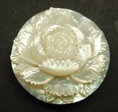 Antique Carved MOP Shell Button Dimensional Rose Flower Design | eBay