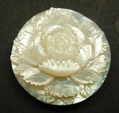 Antique Carved MOP Shell Button Dimensional Rose Flower Design | eBay