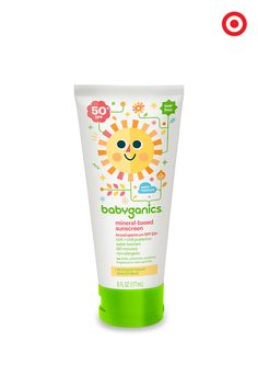 Help protect your baby from the sun's harmful rays with Babyganics Mineral-Based Baby Sunscreen Lotion. The gentle SPF 50 formula glides on smoothly, providing broad spectrum UVA/UVB protection. Pediatrician and dermatologist tested, it's non-allergenic, non-irritating and paraben free. Stash an extra tube in your diaper bag so you're always ready for summer fun.