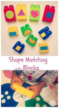 shape matching with blocks fun preschool learning activity