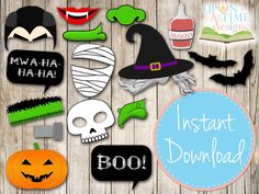 INSTANT DOWNLOAD HALLOWEEN Photo booth Props . Make it easy and just print them up from you own printer.