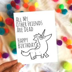 Birthday Card - Funny Birthday Card - Happy Birthday Card - Witty Birthday Card - Funny Card - Silly Birthday Card - Humor - Unicorn Card by SaltyDays on Etsy