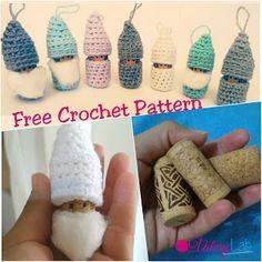 Gnomes & Corks, FREE crochet pattern Christmas ornament! - Gnomi & Tappi, schema gratuito uncinetto!