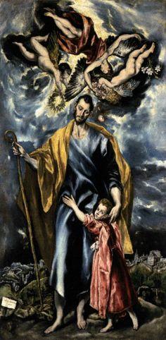 """Art from Spain - Doménikos Theotokópoulos (Creta 1541 - Toledo 1614), conocido como """"El Greco"""", fue un pintor, escultor y arquitecto, que desarrolló sus trabajos más notables en la España renacentista. De un estilo muy personal, su obra no fue muy apreciada por sus coetáneos, és en el siglo XX cuando se reconoce plenamente la importancia de su pintura. - St Joseph and the Christ Child / 1597-99 Capilla de San José, Toledo"""