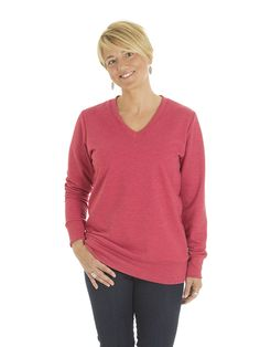 Style #L1F - Women's V-neck Sweater - French Terry  50% Organic Cotton / 50% Recycled Polyester– 10oz Available in Heather Navy – Heather Black – Heather Red – Heather Grey