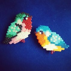Birds hama beads by lisnarcea Spring Projects, Projects To Try, Hama Beads Patterns, Perler Beads, Beaded Embroidery, Kid Stuff, Crafts For Kids, The Incredibles, Birds