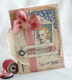 """A """"Prim and Proper"""" Flapper Girl Card With Doily, Buttons, & Sparkle"""
