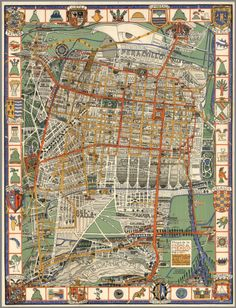 Pictorial map of Mexico City, 1932.