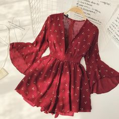 Vintage Bohemia Playsuits Women Cherry Printed Deep V-neck High Waist Slim Holiday Beach Wide-legged Shorts Pants Jumpsuits Cute Casual Outfits, Pretty Outfits, Pretty Dresses, Cute Dress Outfits, Skater Outfits, Teen Fashion Outfits, Look Fashion, Fashion Dresses, Emo Outfits