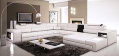 Divani Casa Polaris - White Bonded Leather Sectional Sofa