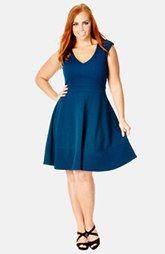 City Chic 'Sharp Shoulder' Fit & Flare Dress (Plus Size)
