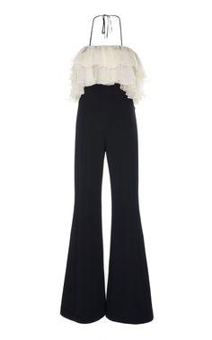 Kaiya Ruffled-Trim Flared Jumpsuit by ALEXIS for Preorder on Moda Operandi Kpop Fashion Outfits, Stage Outfits, Mode Outfits, Girl Outfits, Fashion Dresses, Hijab Fashion, Look Fashion, Korean Fashion, Fashion Design