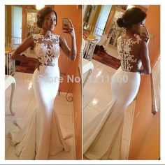 Long Evening Dress 2014 Real Sample Sleeveless Back Sheer Floor-Length White Formal Mermaid Lace Evening Dresses robe de soiree