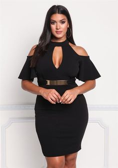 Plus Size Cold Shoulder Cut Out Bodycon Dress