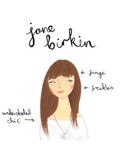 Style Icon Jane Birkin A5 Archival Art Print by emmablock on Etsy