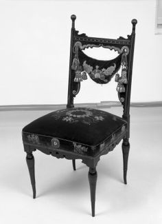 Side chair (one of a pair) Aesthetic Movement style with Moorish style embroidery (Rockefeller Room)  Medium: Unidentified ebonized wood, original velvet upholstery  Dates: ca. 1880