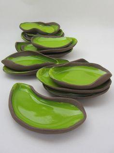 "Ceramics by Saskia Lauth - ""Chocolate-Pistachio"" series, 2015, small appetizer…"